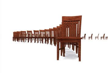 3D Stuhlreihe - Braun 02