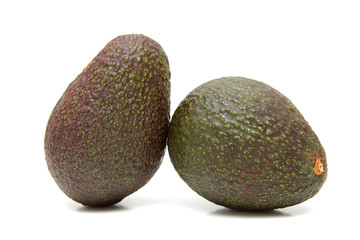Two avocados isolated