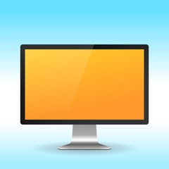 Colorful LCD monitor isolated on white background