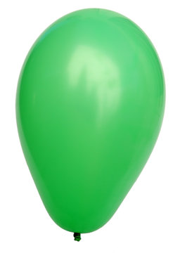 ballon de baudruche vert sur fond blanc