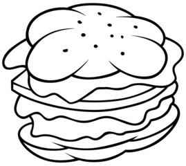 Hamburger - Black and White Cartoon illustration