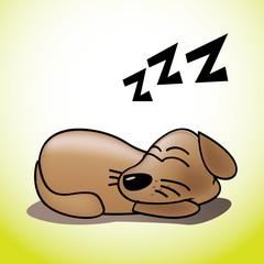 cute happy sleeping puppy illustration