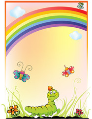 Poster Regenboog children's background with a rainbow, caterpillar and butterfly
