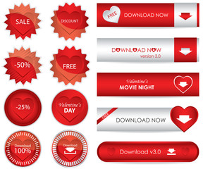 special red website download buttons - valentine's day edition