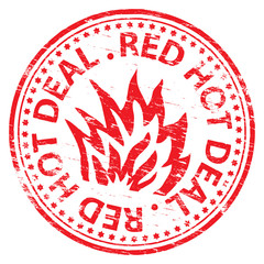 "Rubber stamp illustration showing ""RED HOT DEAL"" text"