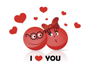 Vector. Funy couple. I LOVE YOU text.