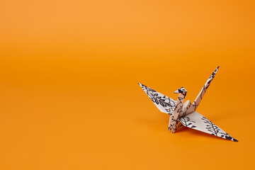 Origami Crane On Orange Background