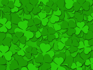 Happy St Patrick's Day Shamrock Leaves Background