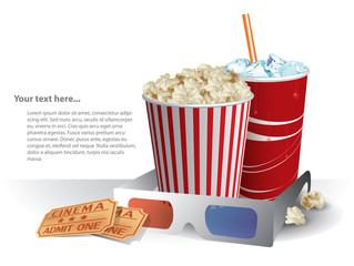 3d movie glasses with popcorn and soda