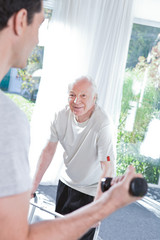During the exercising in the retirement house