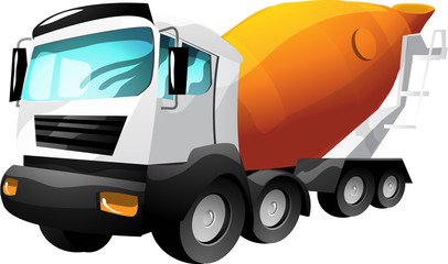 Cartoon vector cement truck