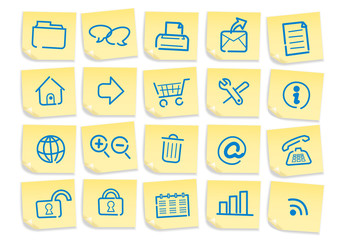 Web icons, buttons,sticky memo notes