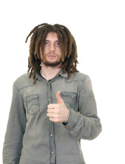 young dreadlock man isolated on white background