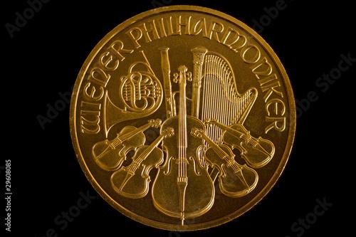 Wiener Philharmoniker Goldmünze 1 Unze Stockfotos Und Lizenzfreie