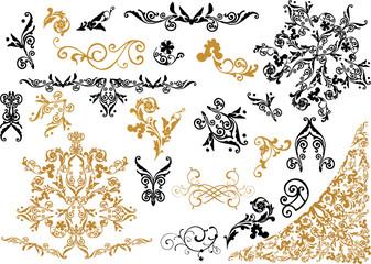 black and golden ornamental elements