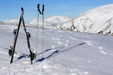 ski equipment on the top of mountain