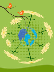 Eco Earth Card Design Bird, Flower