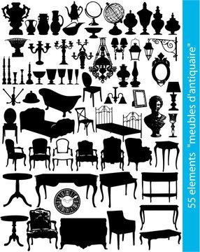 55 éléments de mobilier