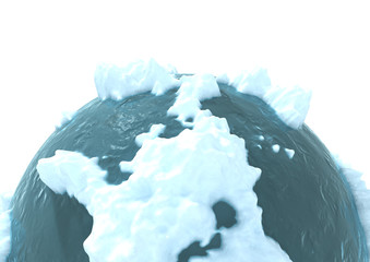 3d computer generated image of a frozen planet