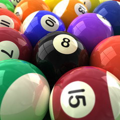 3d  closeup of colorful billiards balls