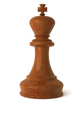 3d wood chess king piece isolated on white