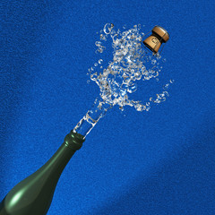 Illustration of Champagne cork ejection on blue