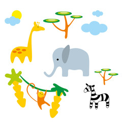 Vector illustration. Zoo. Africa animals.