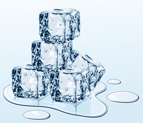 Ice cube on water surface, illustration