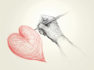Hand drawing a heart / realistic sketch (not auto-traced)