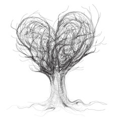 Tree like heart / realistic sketch (not auto-traced)