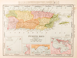 Antique Vintage Color Map of Puerto Rico