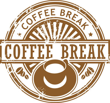Grunge stamp with coffee cup and the text coffee break