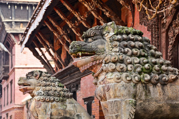 stone lions in Patan