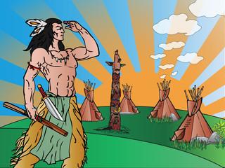 Printed kitchen splashbacks Indians Indian warrior