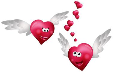 Flying Hearts in Love