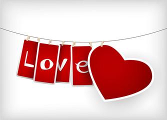 Valentine hanging labels.