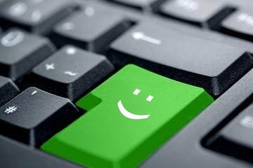 smiley green key