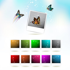 Set of blank colored photos with abstract effects