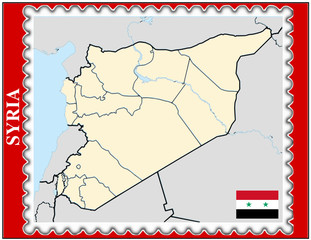 Syria national emblem map coat flag business background