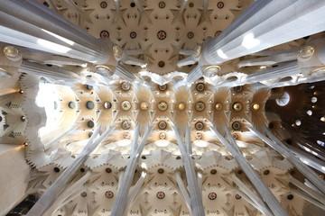 Architecture detail of ceiling and pillars in La Sagrada Familia
