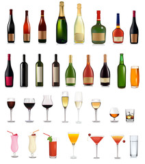 set of different bottles, drinks and cocktails. Vector