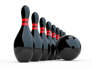 Bowling. 3D illustration on white background