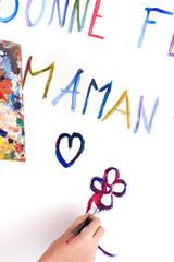 peinture bonne fête maman