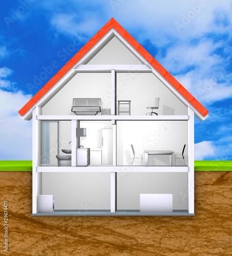 haus querschnitt einfamilienhaus stockfotos und lizenzfreie bilder auf bild 29674471. Black Bedroom Furniture Sets. Home Design Ideas