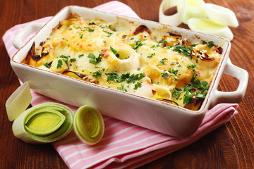 Potatoes And Leek Au Gratin