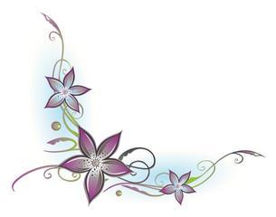 Ranke, flora, filigran, Blumen, Blüten, lila, grün, blau