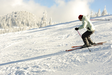Skier on snow