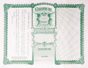 Back Side Reverse Old U.S. Paper Stock Certificate