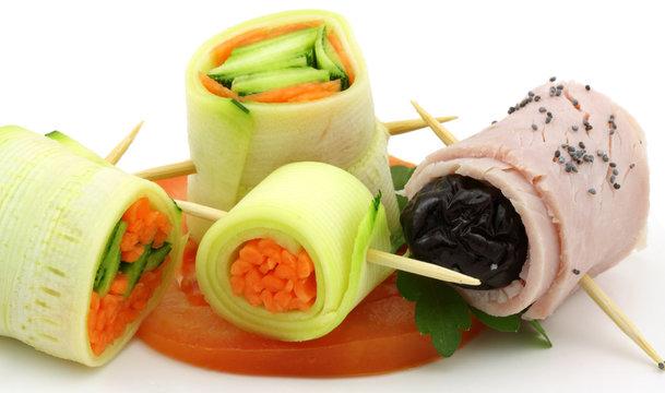 roulés de fruits, légumes et jambon aux graines de sésame