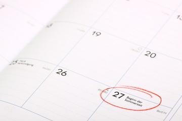 Kalenderblatt mit Termin Erinnerung